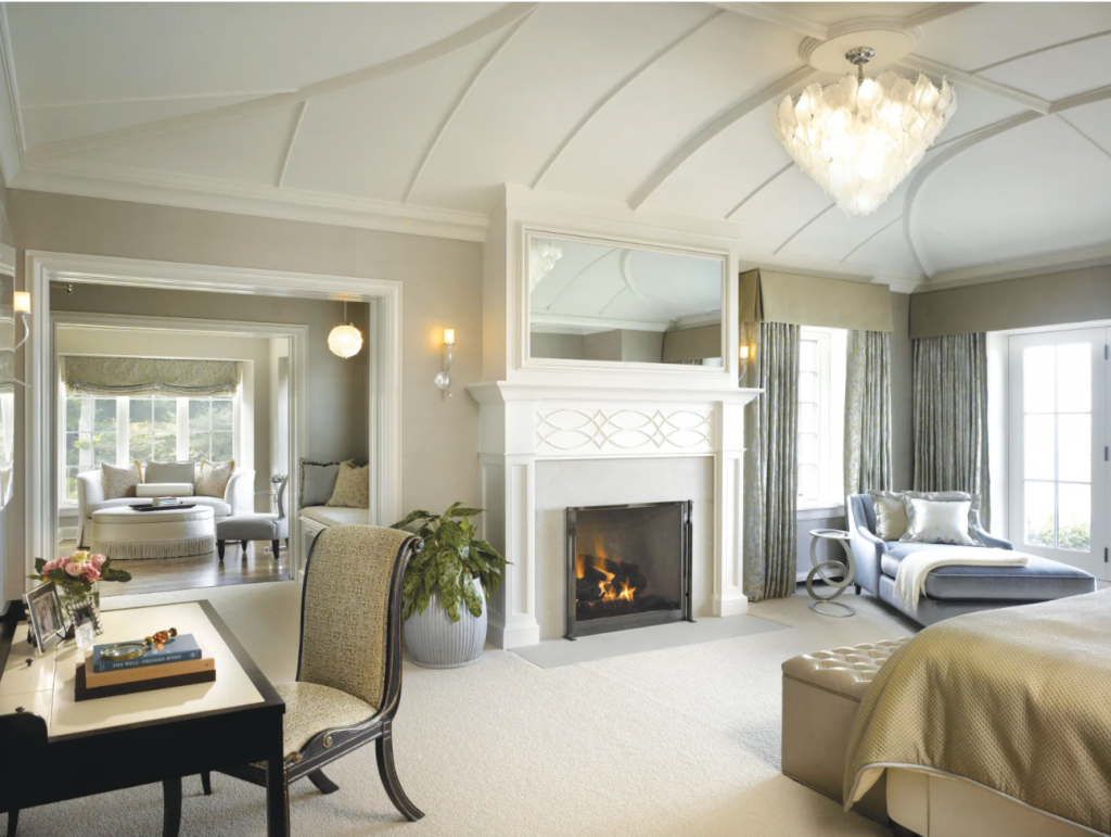 A primary suite—one of a pair— in a St. John home designed by Morgante Wilson Architects.
